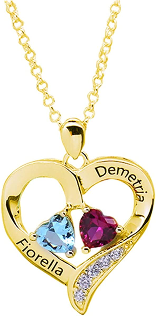 Shiny Alice Customized Engraved Name Necklace with Birthstone Infinity Pendant Family Necklace