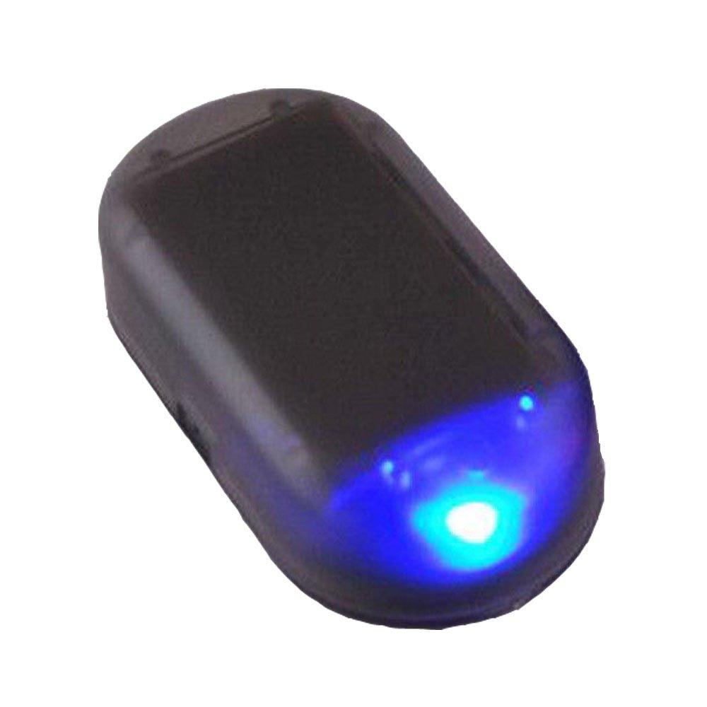 perfectech車ソーラー電源Simulatedダミーアラーム警告セキュリティ盗難防止LEDフラッシュライトFakeランプブルー B06XHG9D4B