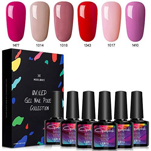 Modelones Gel Nail Polish Set - Nude Pink Series 6 Colors Nail Art Set, UV LED Soak Off Gel, 0.33 OZ 10ML