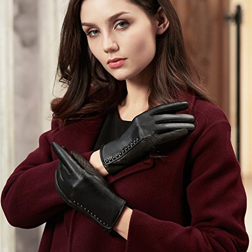 GSG Womens Stylish Whirlpool Patterns + Trendy Studs Black Leather Gloves Ladies Touchscreen Driving Gloves Warm Winter Nice Gifts 7.5 by GSG (Image #2)