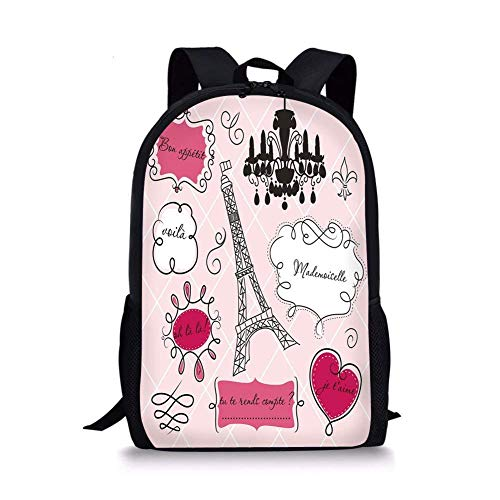 School Bags Teen Room Decor,Doodle Frames French Style Rococo Baroque Lantern Mademoiselle Print Decorative,Hot Pink Black for Boys&Girls Mens Sport Daypack ()