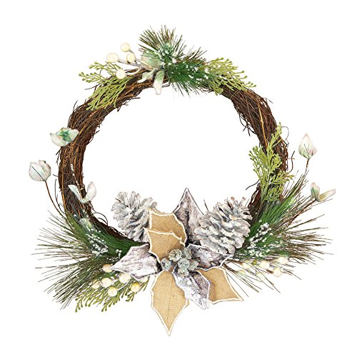 Silver and Pine Accented Twig Wreath - Pine Door Swag