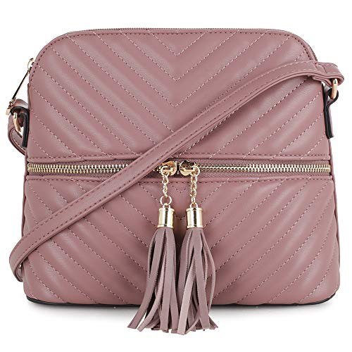 Quilted Pattern Lightweight Medium Dome Crossbody Bag with Tassel | - Quilted Dome