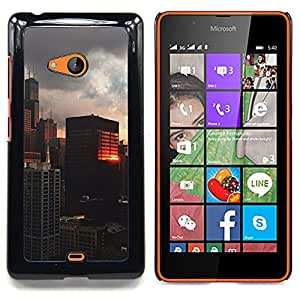 For Nokia Lumia 540 Case , Reflexión del edificio City View - Diseño Patrón Teléfono Caso Cubierta Case Bumper Duro Protección Case Cover Funda