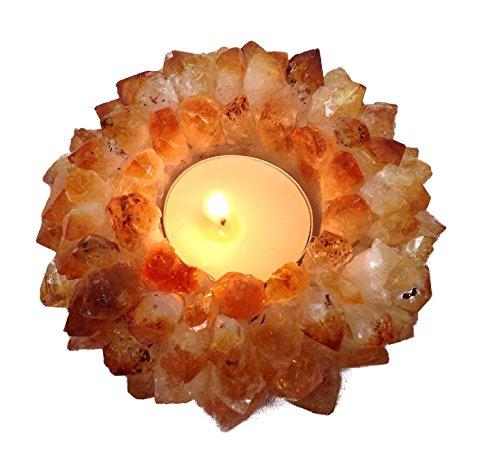 (Natural Citrine Crystal Gemstone Tea Light Candle Holder - Reiki Energy Healing )