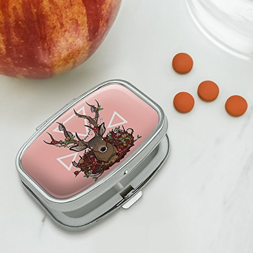 Review Deer Head Floral Rectangle Pill Case Trinket Gift Box
