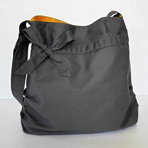 Virine grey shoulder bag, cross body bag, messenger bag, everyday bag, handbag, travel bag, tote, bow, women - ANNIE