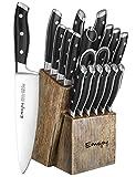Knife Set, 18-Piece Kitchen Knife Set with Block Wooden, Manual Sharpening for Chef Knife Set, German Stainless Steel, Emojoy