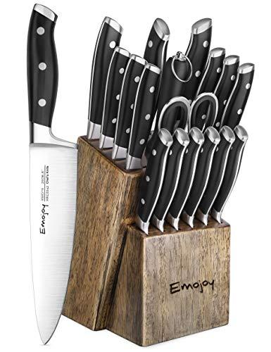 Knife Set, 18-Piece Kitchen Knife Set with Block Wooden, Manual Sharpening for Chef Knife Set, German Stainless Steel, Emojoy by Emojoy