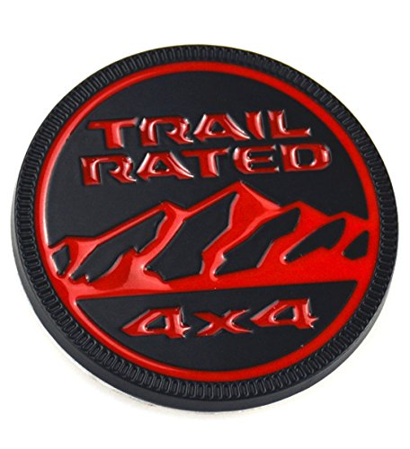 Aimoll 1pc Jeep Trail Rated 4×4 Trunk Tailgate Fender 3D Metal Emblem Badge LOGO for Jeep Wrangler 2009-2017 (Red Black)