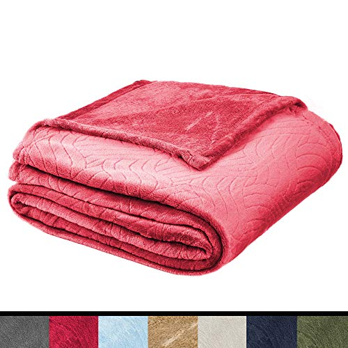 Soft Fleece Throw Blanket - Plush Blanket for Bed or Couch - Embossed Flannel Blanket for Bedroom, Living Room and Travel - Crimson, Queen Blanket by Blissford
