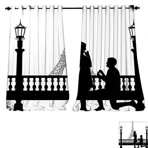 Thermal Insulated Blackout Grommet Curtain Engagement Party ations Paris Lovers City Wedding Proposal for Great Future Image Black and White Drapes for Living Room (W120 x L107 -Inch 2 Panels)