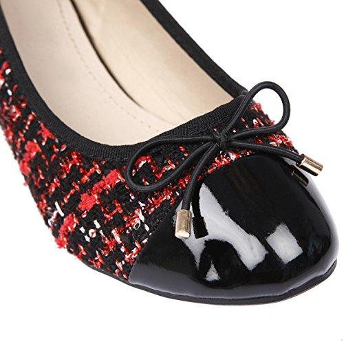 La Modeuse bimaterial-Bailarinas, diseño de tela de tweed, barnices y Rojo - rojo