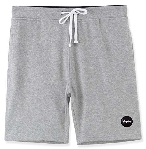 Estepoba Mens Casual Athletic Fit Comfort Soft Fleece Workout Gym Pockets Short H.Gray/C.Blue XXL