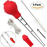 Home Servz Turkey Baster Syringe Meat Injector Kit - Stainless Steel Marinade Needle & Cleaning Brush,Pastry Brush With Bonus Natural Cooking Twine - Food Grade Silicone Bulb & Basting Brush