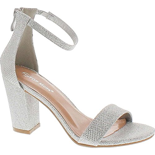 TOP Moda Women's Hannah-1 Ankle Strap High Heel Sandal (Silver, 7.5 M US)