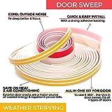 """Soundproof Weather Stripping Door Kit – White - 39 Feet Self Adhesive Weatherstrips & 43.3"""" Door Sweep – Wind, Dust, Draft & Insect Proof – Seal - Rubber Door Strips to Seal Door Cracks – Furring"""