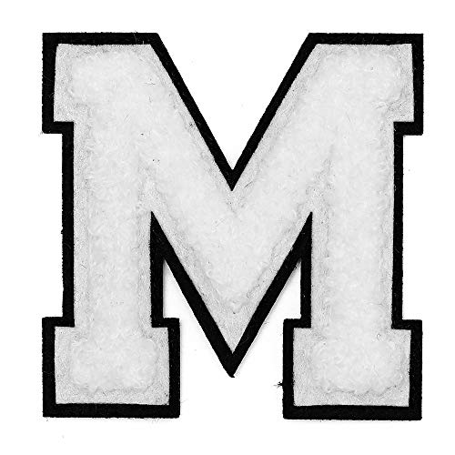Letter-M-2-12-Chenille-Stitch-Varsity-Iron-On-Patch-by-pc-TR-12154-White