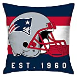 Gdcover Custom Stripe New England Patriots Pillow Covers Standard Size Throw Pillow Cases Decorative Cotton Pillowcase Protecter with Zipper - 18x18 Inches