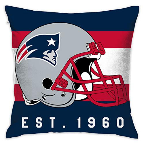 Nfl Decorative Pillow - Gdcover Custom Stripe England Patriots Pillow Covers Standard Size Throw Pillow Cases Decorative Cotton Pillowcase Protecter Zipper - 18x18 Inches