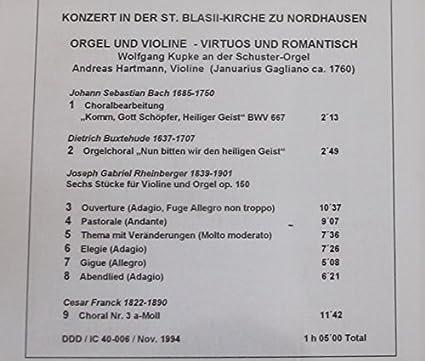 Bach Nordhausen orgel und violine virtuos und romantisch konzert in der blasi kirche