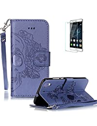 Huawei Y6 II / Huawei Y6 2 Case Free Screen Protector] Funyye Solid color Stylish Lanyard Strap Scratch Resistant Premium Magnetic Detachable PU Leather Wallet Style Cover with [Credit Card Holder Slots] Full Body protection Ultra Thin Protective Case Cover for Huawei Y6 II / Huawei Y6 2 -Skull Flower Blue