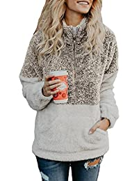 Womens Sweatshirt - Long Sleeve 1/4 Zip Up Faux Fleece Pullover Hoodies Coat Tops Outwear with Pocket