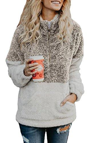 Pullover Zip Jacket Half (Angashion Womens Long Sleeve Half Zip Fuzzy Fleece Pullover Jacket Outwear Sweatshirt Tops Coat with Pocket Coffee S)