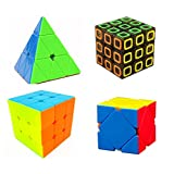 Super Value - 3 Layer Cubes- Family Cube Puzzle Collection - 4 in One Set - Pyraminx Skew Dimension Regular 3x3 - Stickerless - With Bonus of Stand & Pouch