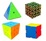 3x3 Stickerless Cube Puzzle Set Collection Pyramid Cube Skewb Cube Dimension Cube Speed Cube 3x3 With Bonus of Stand & Pouch by WiAllFun