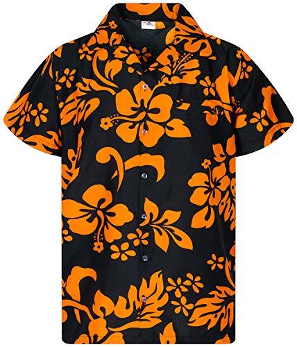 Funky Hawaiian Shirt, Shortsleeve, Hibiscus, Orange on Black, L