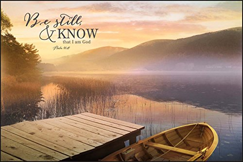 Be Still & Know that I am God Morning On Lake 24 x 36 Wood Wall Art Sign Plaque