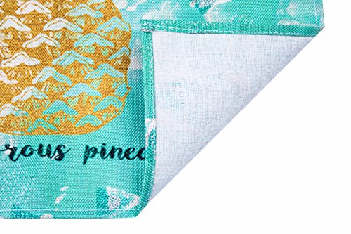 HONEYJOY 4 Pcs Washable Cotton Linen Placemats Textile Rectangle Heat-resistant Non-slip Non-fading Decorative Dining Table Mats Set for Home Kitchen Office Pineapple Pattern Green (13'' x 17'') by HONEYJOY (Image #2)