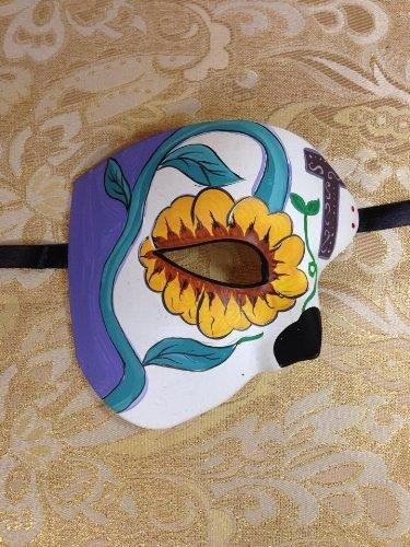 Yellow Flower Masquerade Mask for Men and Women Halloween Party Phantom Half Face Eye Mask ()