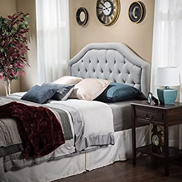 Celina Queen-Full Light Grey Fabric Headboard