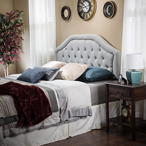 Celina Queen/Full Light Grey Fabric (Bedroom Fabric Headboard)