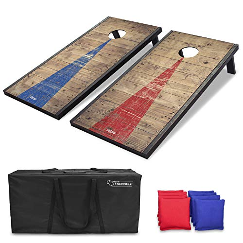 GoSports 4'x2' Classic Cornhole Set with Rustic Wood Finish | Includes 8 Bags, Carry Case and Rules