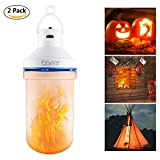 BOFIT Hanging LED Flame Light, Rechargeable Battery Powered Flicker Flame Effect Light Bulb Tent Light, Lantern for Kids Camping 10 Hours Lighting, Flame Bulb for Fireplace Halloween, 3 Modes