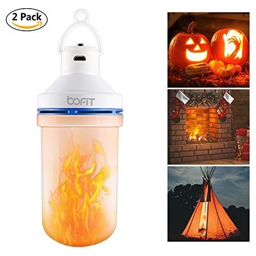 BOFIT Hanging LED Flame Light, Rechargeable Battery Powered Flicker Flame Effect Light Bulb Tent Light, Lantern for Kids Camping 10 Hours Lighting, Flame Bulb for Fireplace Halloween, 3 Modes by BOFIT