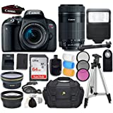 Canon EOS Rebel T7i DSLR Camera with Canon EF-S 18-55mm f/4-5.6 IS STM Lens + Canon EF-S 55-250mm f/4-5.6 IS STM Lens+ Accessory Bundle