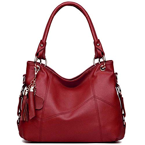 BAISHILIN Genuine Leather Top Handle Satchel Handbag Tote Tassel Shoulder Bag Purse Crossbody Bag for Women(Wine red) ()
