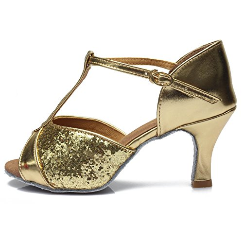 Hroyl Kvinna Latin / Chacha / Samba / Jazz / Moderna Dansskor Paljetter Balsal A3us-259 7cm Guld