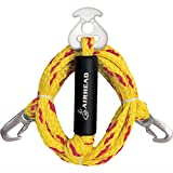 Airhead Heavy Duty Tow Harness up tp 4 Riders Yellow and Red 5,000 lb. Tensile Strength 1/2'' Hook Opening Width for Boats, Water Skiing, Wakeboarding and Kneeboarding up to 4 Rider Towables