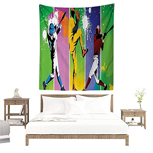 alisoso Wall Tapestries Hippie,Sports Decor,Players in Different Positions in Playground Action Based Catcher Pitcher Modern Sports Print,Multi W47 x L63 inch Tapestry Wallpaper Home Decor