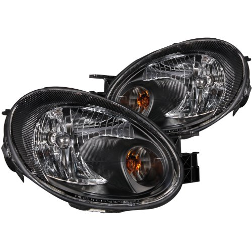Anzo USA 121030 Dodge Neon Crystal Black Headlight Assembly - (Sold in Pairs) Dodge Neon Euro Headlights