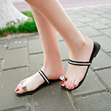 GTVERNH-Gem Toe Sandals Summer Home Furnishing Outdoor Shoes Flat Flat Leather Slippers A Drag