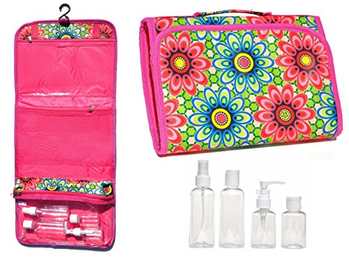 [New Large Flowered Hanging Travel Makeup Toiletries Cosmetic Bag Case Organizer with 4 Pack Travel Size Bottle Set Gift Idea Teen Girls Women Mom] (Last Minute Costume Ideas College)