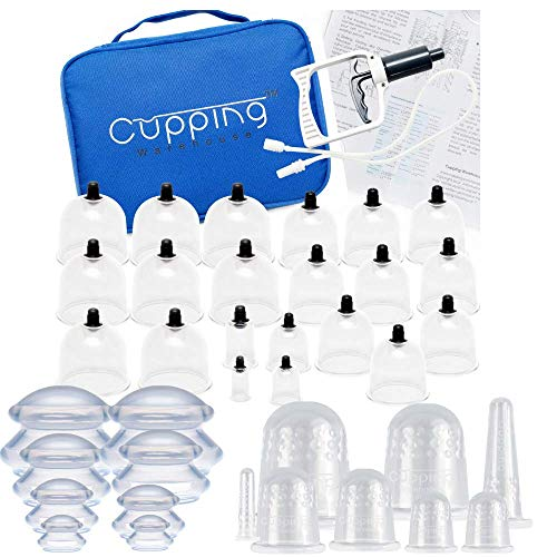 Cupping Warehouse Ultimate Chinese 36 Cup (20 Plastic Polycarbonate BioMagnetic, 8 Supreme PRO 65 & 8 All New Grip Classic PRO 65/68 Silicone Professional Medical Cupping Therapy Sets with Pump ()