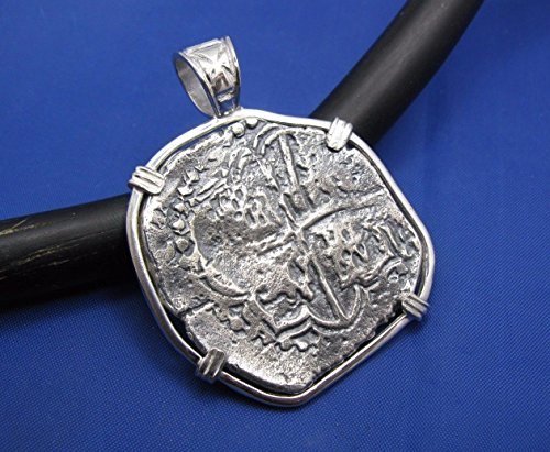 Large Sterling Silver Replica Pirate Coin Piece of Eight ''8 Reale'' Doubloon Pendant 2'' x 1.5'' by Crisol Jewelry
