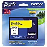 Brother P-Touch TZE651 TZe Standard Adhesive Laminated Labeling Tape, 1''w, Black on Yellow